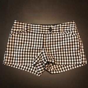Black and White Checked Short Shorts, broken zip